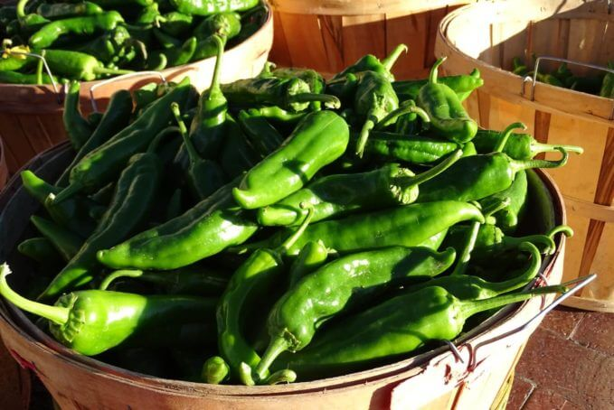 Green chilies ready to be roasted!