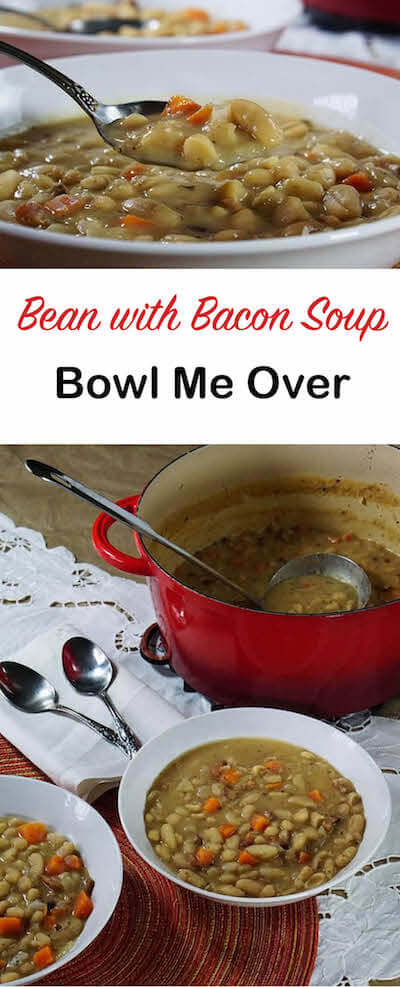 Love Bean Soup but don't have a day to make it? No problem! This delicious Bean with Bacon Soup has all the slow cooked flavor you love, but it can easily be made using pantry ingredients for an easy weeknight meal!