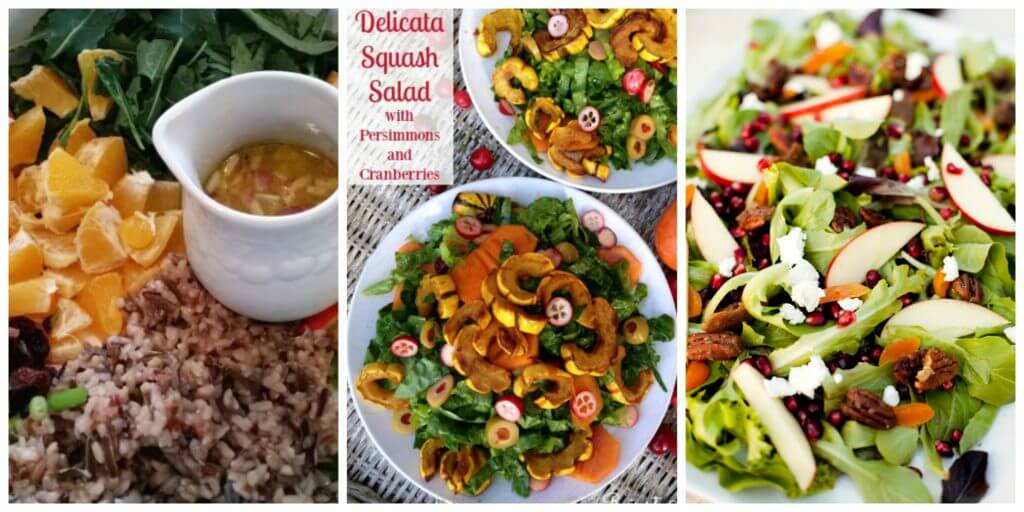 A collages of side salads for Thanksgiving Dinner.