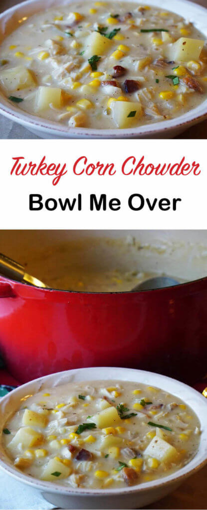 Turkey Corn Chowder is an easy soup that you make from leftovers. Grab a few things items from your pantry, fridge and freezer. Dinner is done!