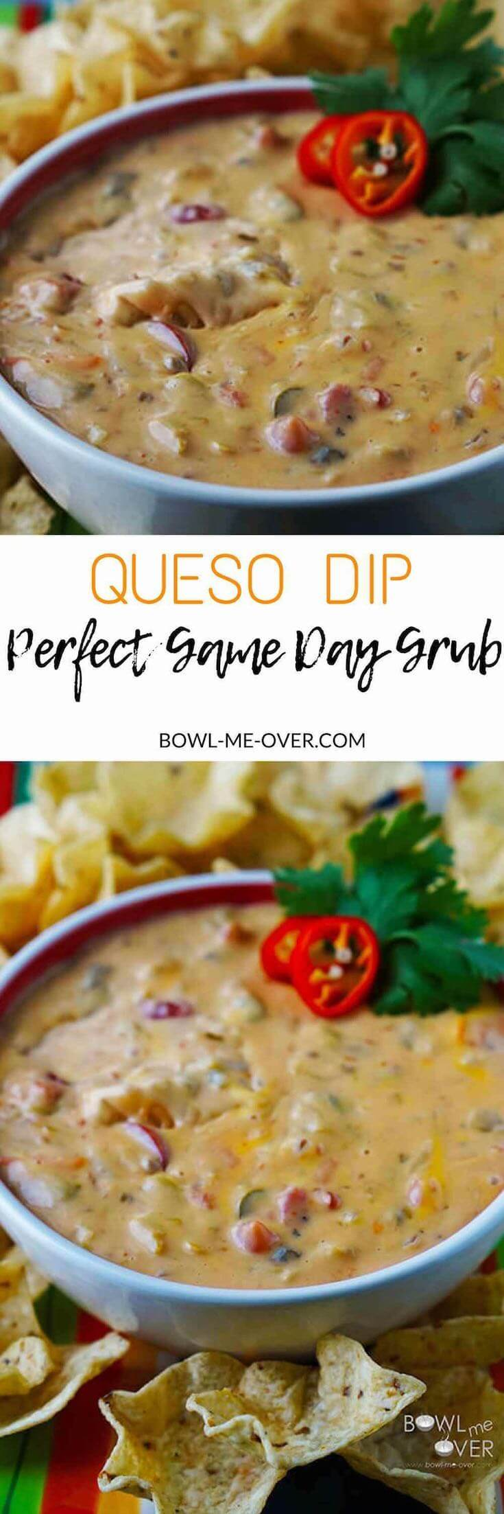 Want an easy side to share for game day? Grab this recipe for Queso Dip! It couldn't be any easier, but it so delicious you won't be able to stop eating it! #QuesoDip #BowlMeOver