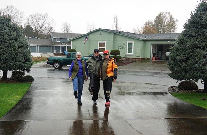 Mom, Dan and I walking in the rain.