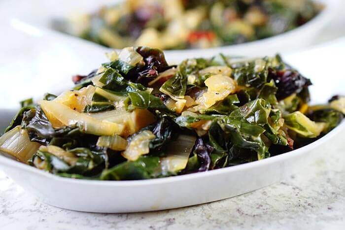 Garlicky Braised Chard is an easy meal or side dish and only takes 30 minutes.
