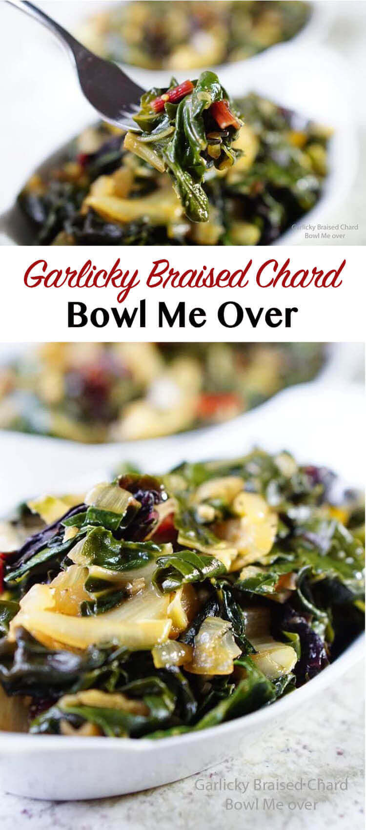 Garlicky Braised Chard - The combination of greens and garlic is tantalizing. Braising the greens and garlic together and it becomes garlicky sweet goodness!