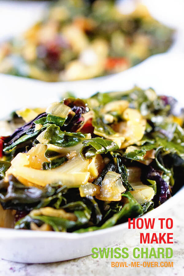 White bowls filled with braised Swiss chard - step by step directions how to make Swiss chard