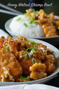 Honey Walnut Shrimp Bowl only takes 20 minutes start to finish and it is AMAZING!
