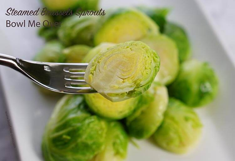 Perfectly steamed Brussels sprouts are a healthy delicious side dish.
