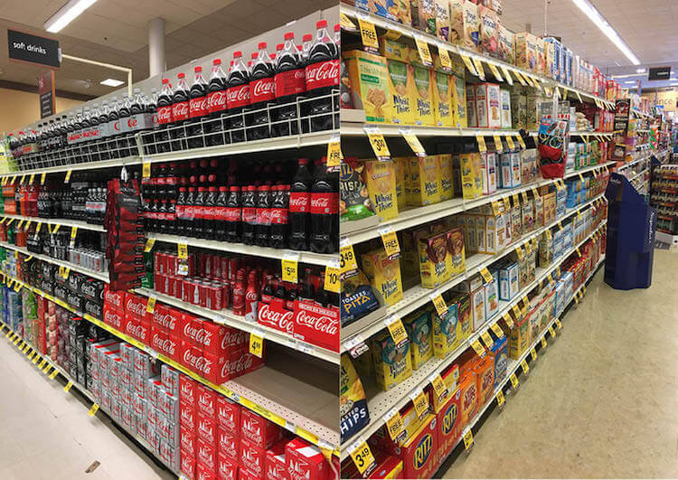 Be sure to pick up some Coca-Cola found in the Drinks aisle and Wheat Thins found in the Cracker aisle.
