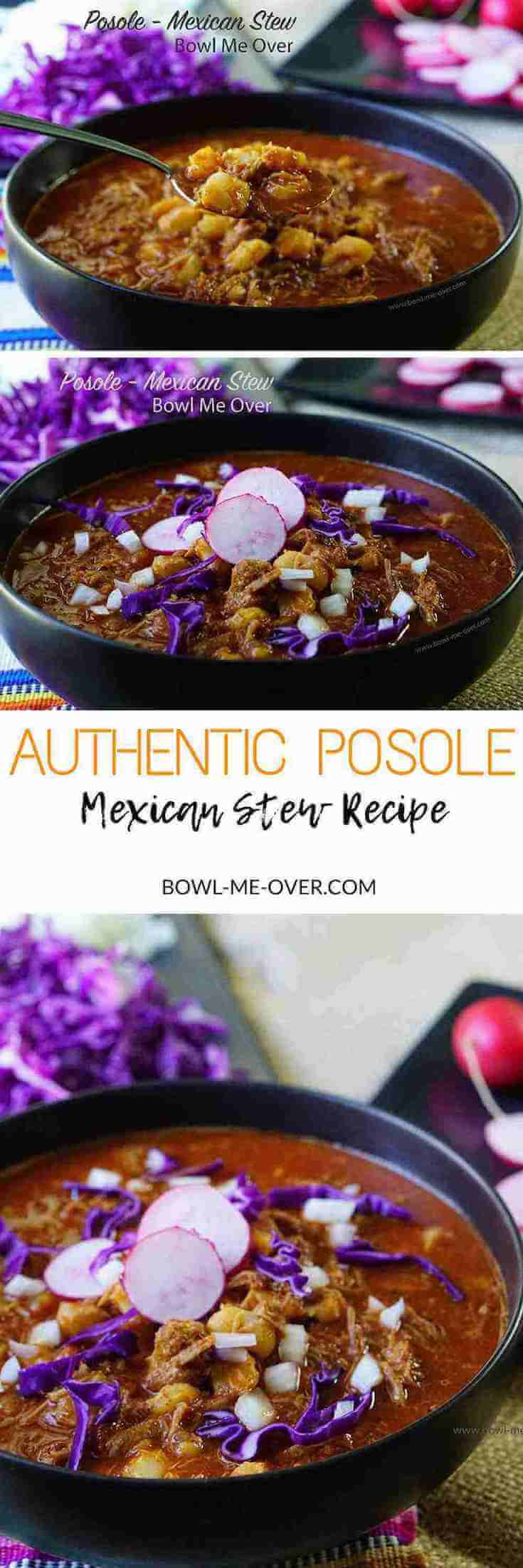 Want authentic Mexican flavor? This recipe for posole is truly perfection in a spoon. It is deliciously savory and flavorful. Truly fabulous and easy enough for anyone to make! #posole #pozole #mexicanstew #bowlmeover