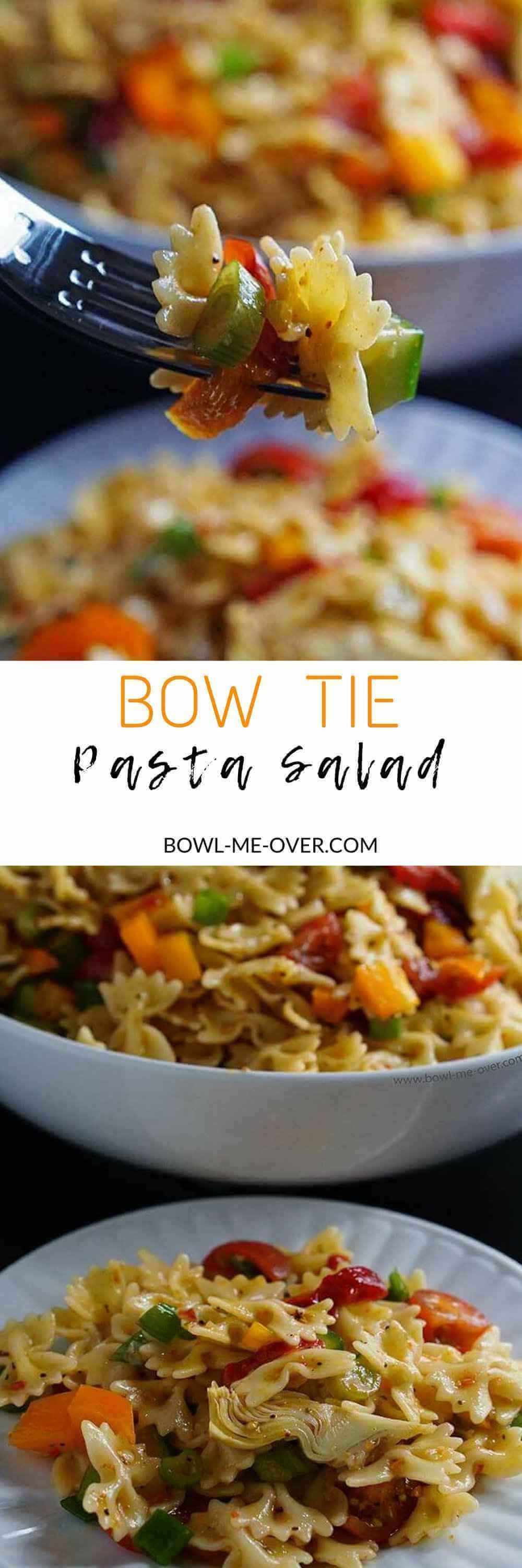 A close up of a fork filled with salad. This blog has Bow Tie Pasta salad Recipes perfect for summertime or family meals.