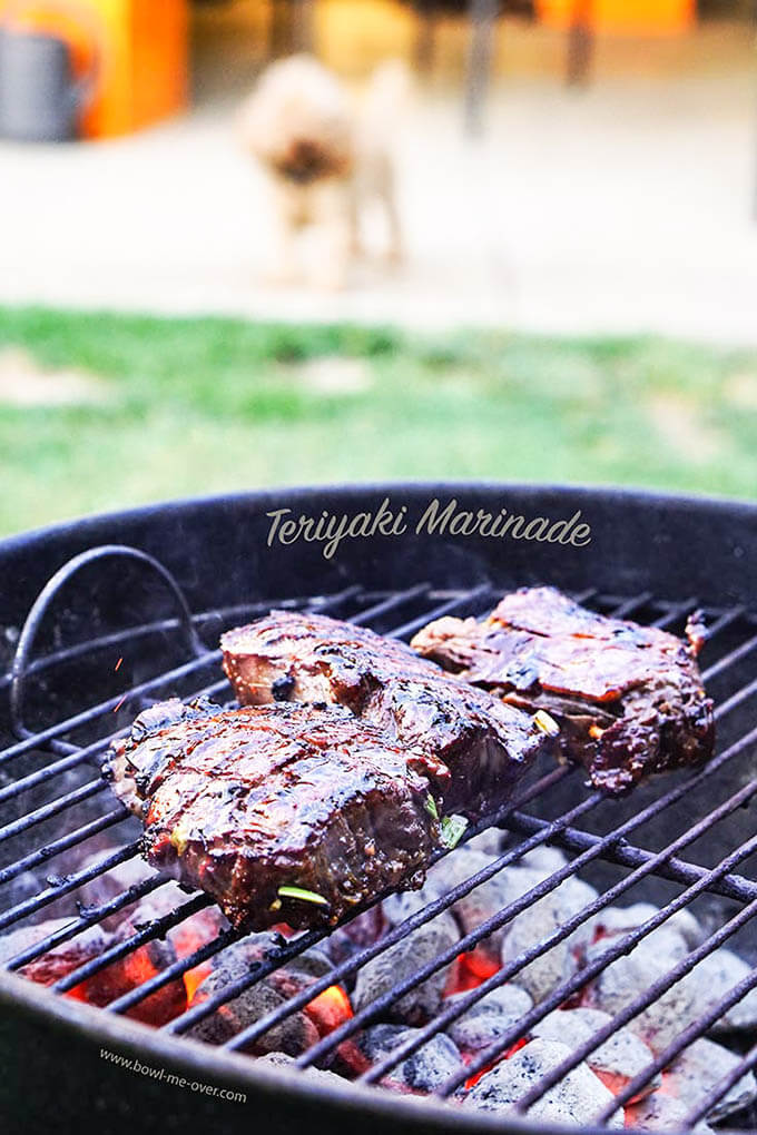Teriyaki Steak on charcoal grill