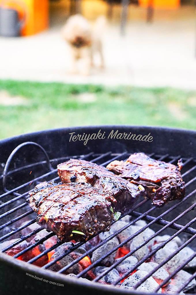 Teriyaki Steak on charcoal grill