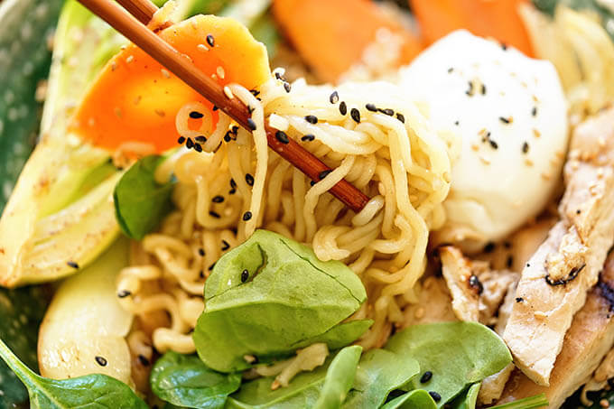 Ramen Noodle Bowl with chopsticks.