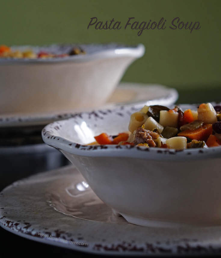 Two bowls of Fagioli Soup sitting on the table ready to serve!