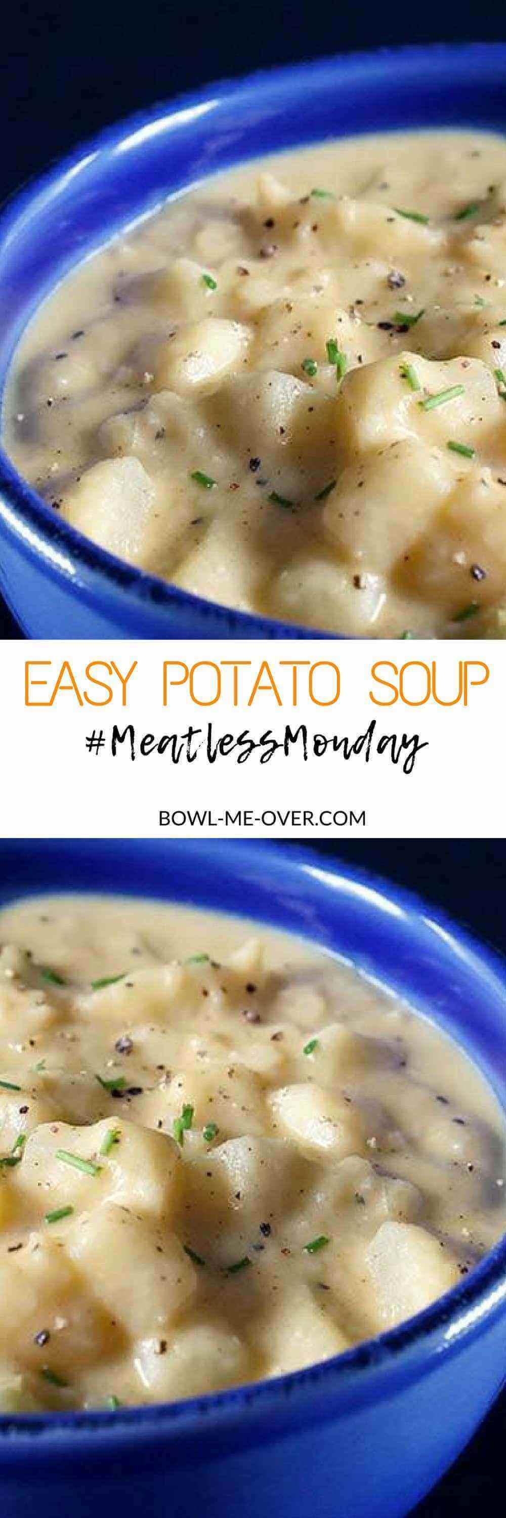 Easy Potato Soup made with simple ingredients for the most savory and delicious meal! This is a thick, creamy filling soup that is easy to make. This vegetarian potato soup is hearty and filling and simply scrumptious! #meatlessmonday #vegetarian #vegetarianpotatosoup #soupisgoodfood #bowlmeover #souperchefdeb #quickandeasy