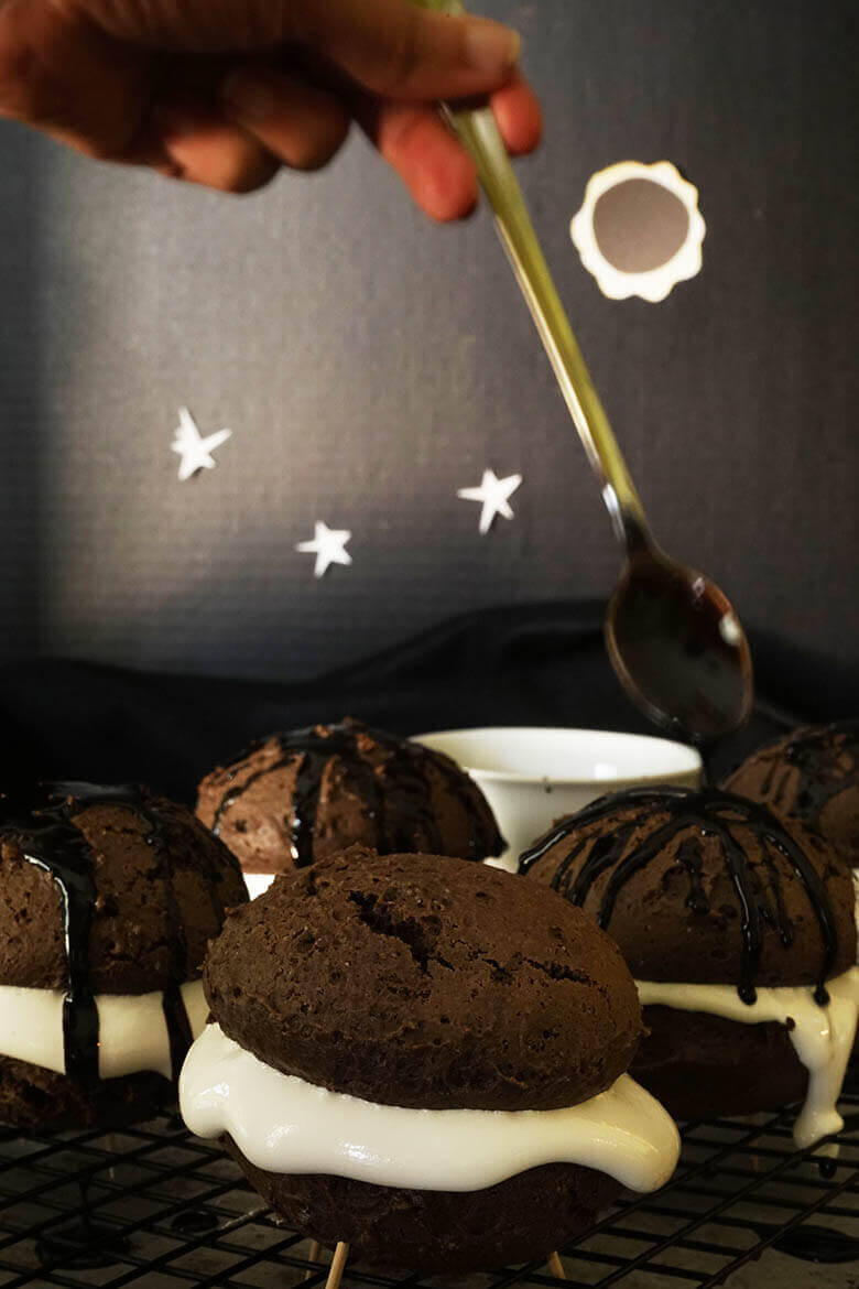 Drizzle with chocolate sauce