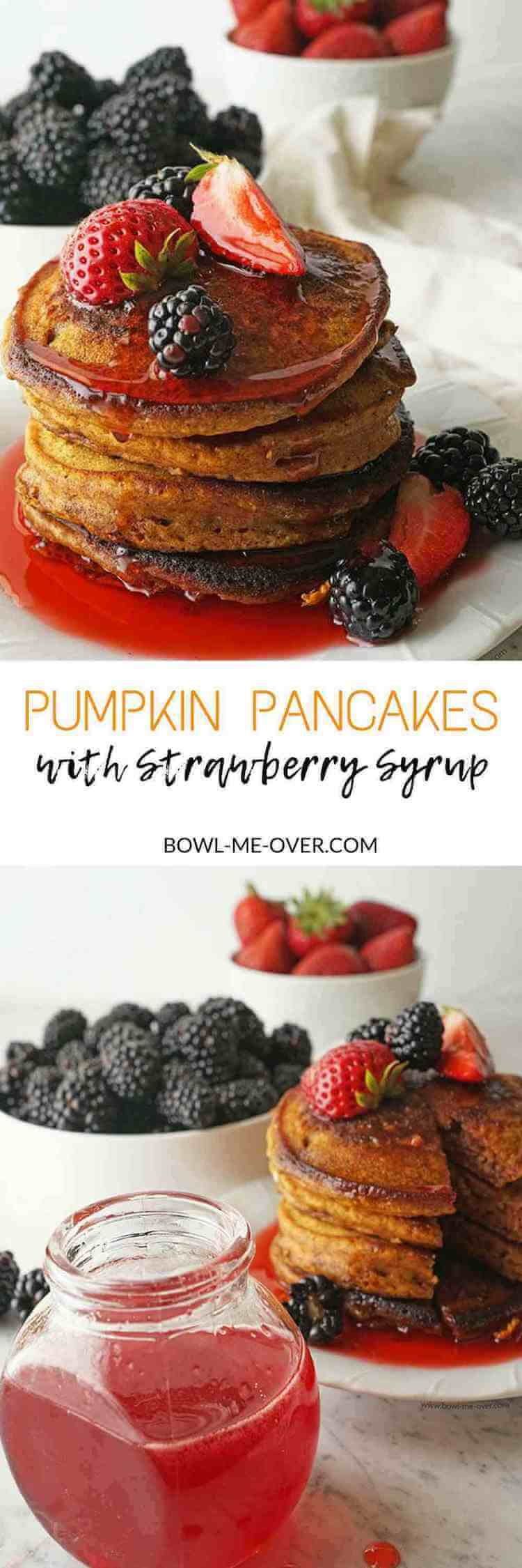 Pumpkin pancakes - light & fluffy and so delicious topped with homemade strawberry syrup, perfect for breakfast, brunch or dinner!