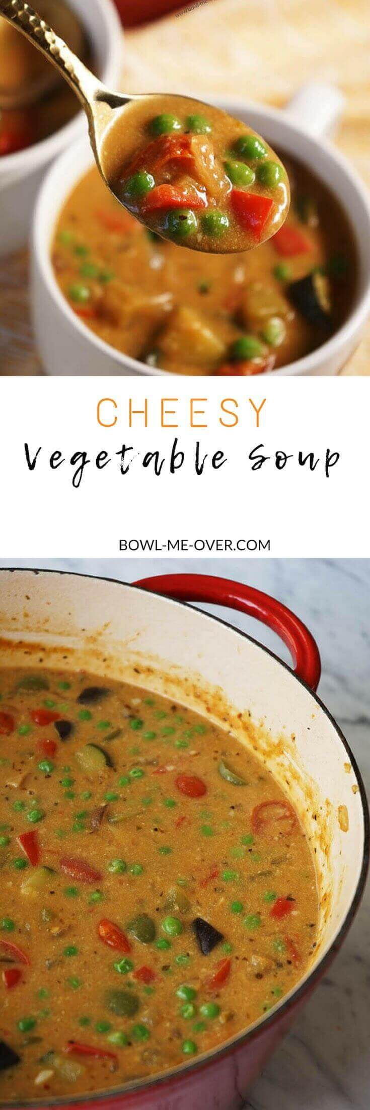 Earthy aromas, sautéed vegetables with rich cheesy sumptuousness is the best way to describe Cheesy Vegetable Soup!
