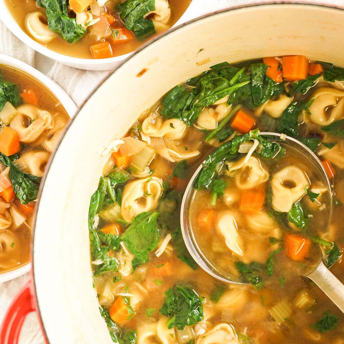 Chicken Tortellini Soup Recipe in pot with ladle