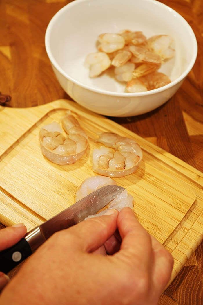 Slicing the shrimp