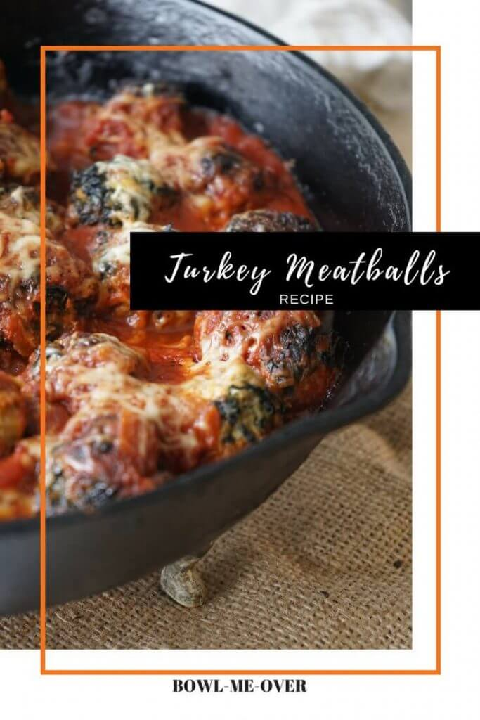 Easy Turkey Meatball Recipe in cast iron skillet
