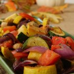 Pan Roasted Vegetables on green platter