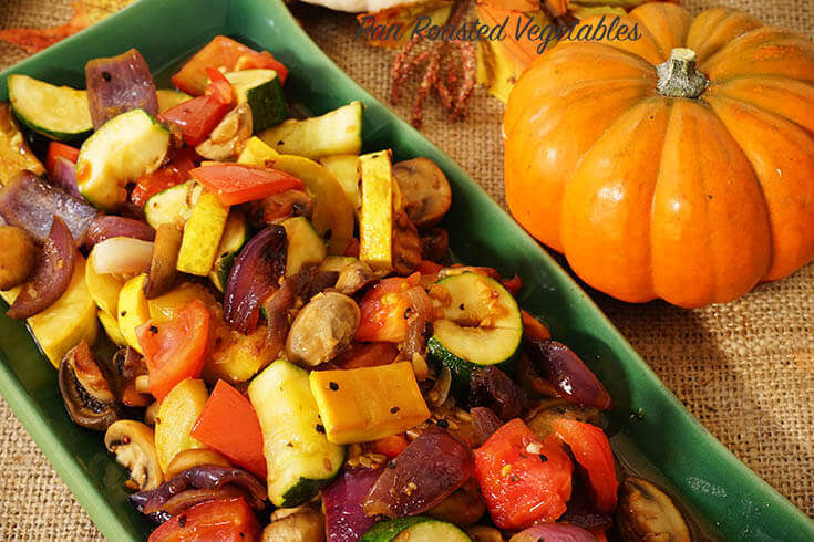 Pan Roasted Vegetables on green platter.