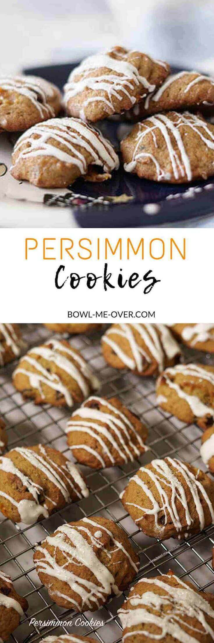 Old fashioned Persimmon Cookies Recipe - cookies are just baked and cooling on a wire rack.