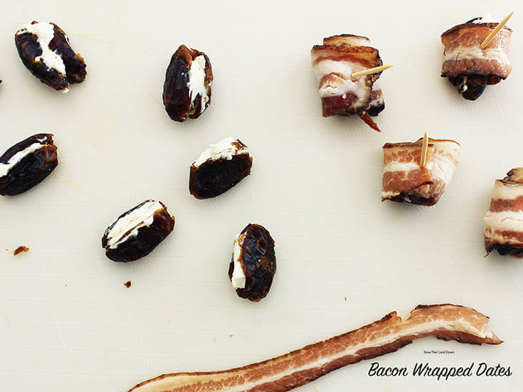 Bacon Wrapped Dates As tempting as it is, don't overfill the dates! #BaconWrappedDates #BowlMeOver #EasyAppetizer