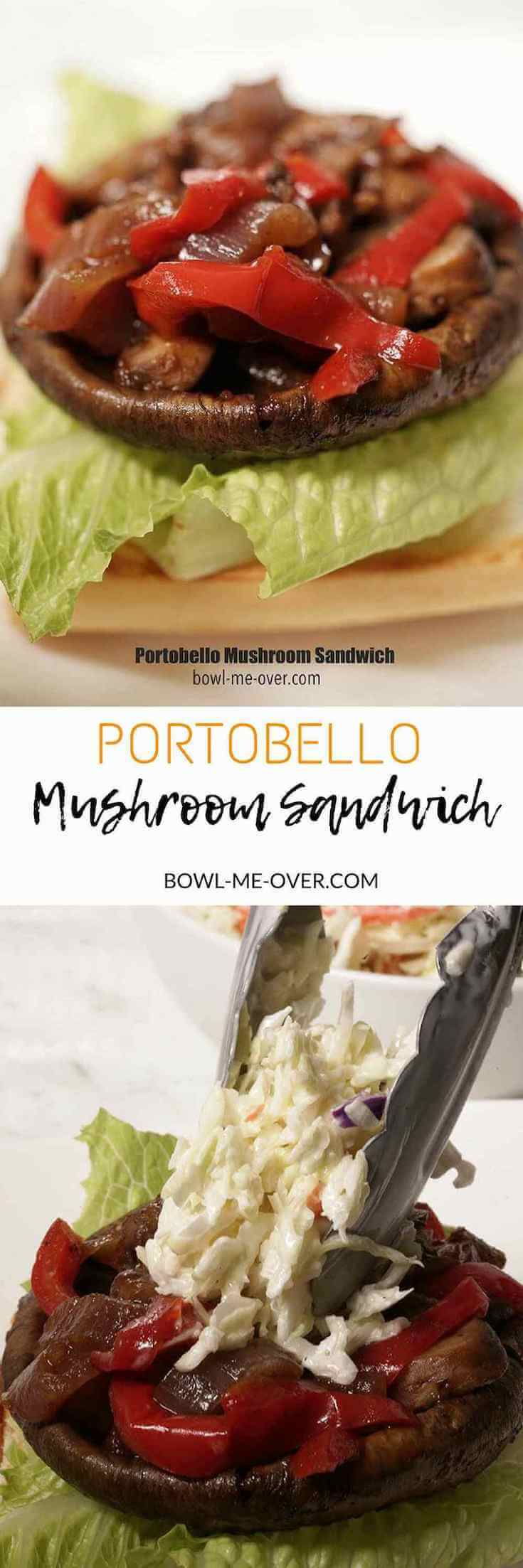 A burger bun topped with lettuce, portobello mushroom and bbq sauce. In the middle Portobello Mushroom Sandwich. The picture on the bottom is the portobello sandwich being topped with a dollop of coleslaw.