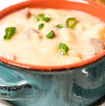 Ham and Potato Soup in blue bowl
