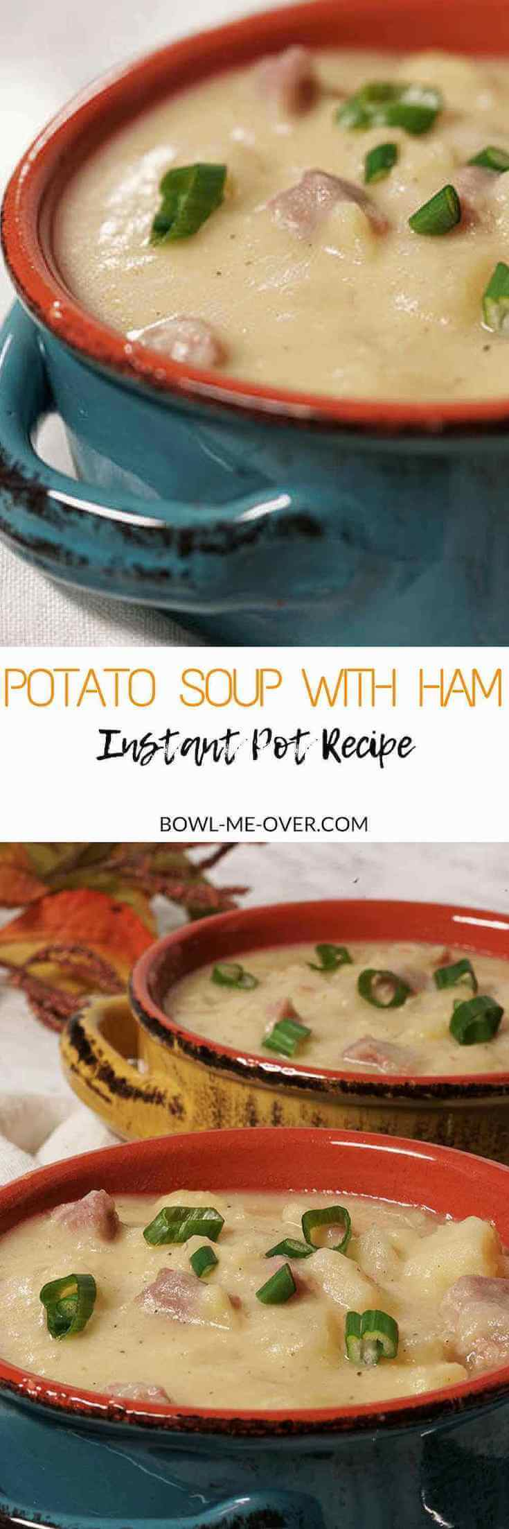 Two bowls of rich, hearty potato soup with ham.