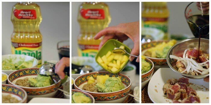 3 pictures showing step by step directions to build a poke bowl. First a scoop of avocado, then diced mango and seared tuna being mixed with sauce.