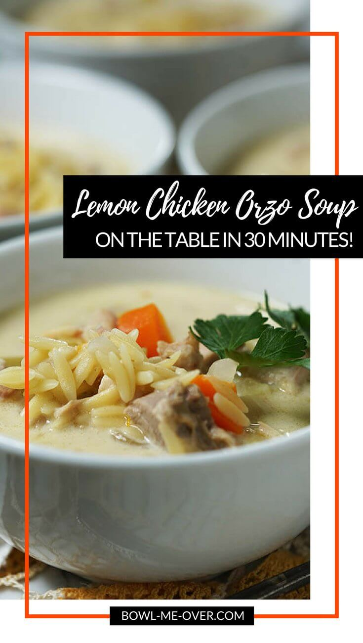 White bowls full of lemony chicken soup made with orzo and vegetables.
