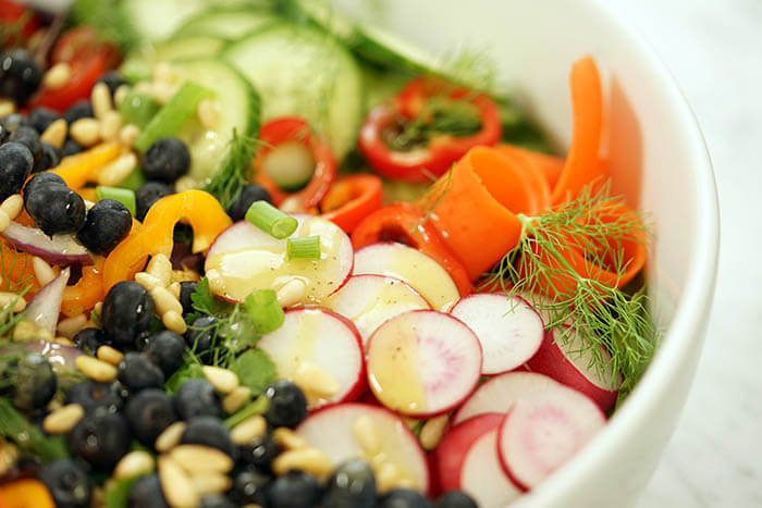 a garden salad recipe with fresh vegetables blueberries and pine nuts - Garden Salad Recipe