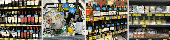 Four pictures showing the aisles at Grocery Outlet. Rows of wine, produce and a cart full of everything needed to make Shrimp Scampi Linguine