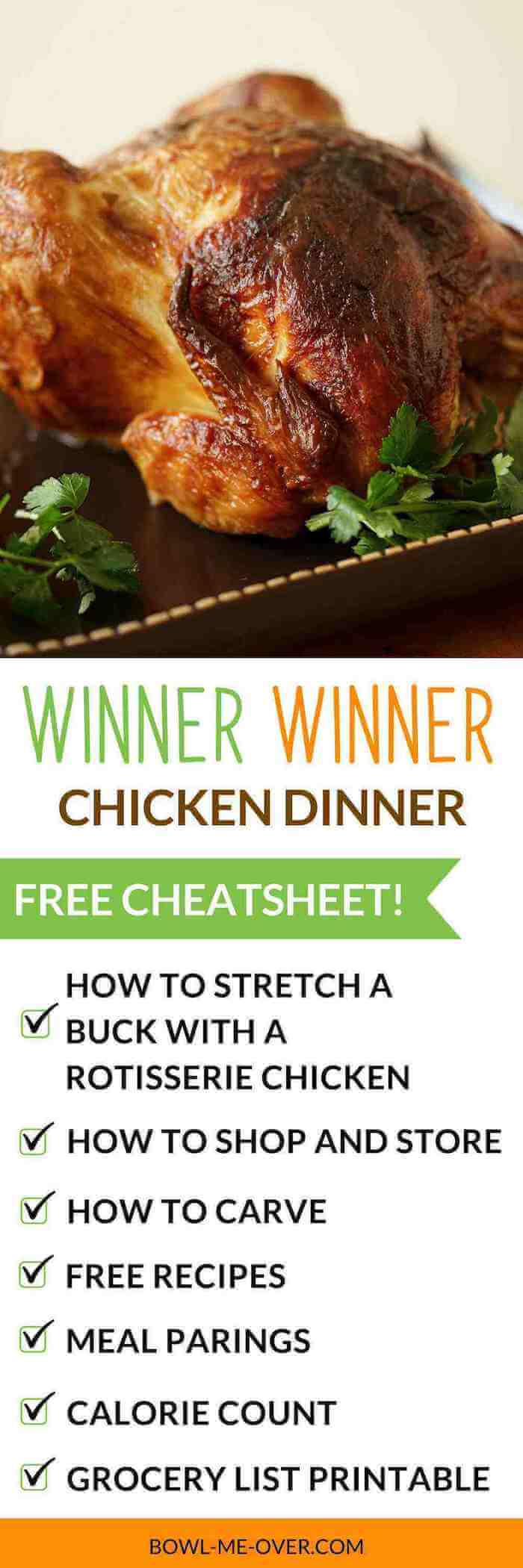 Rotisserie Chicken Cheat Sheet for recipes, meal pairing and