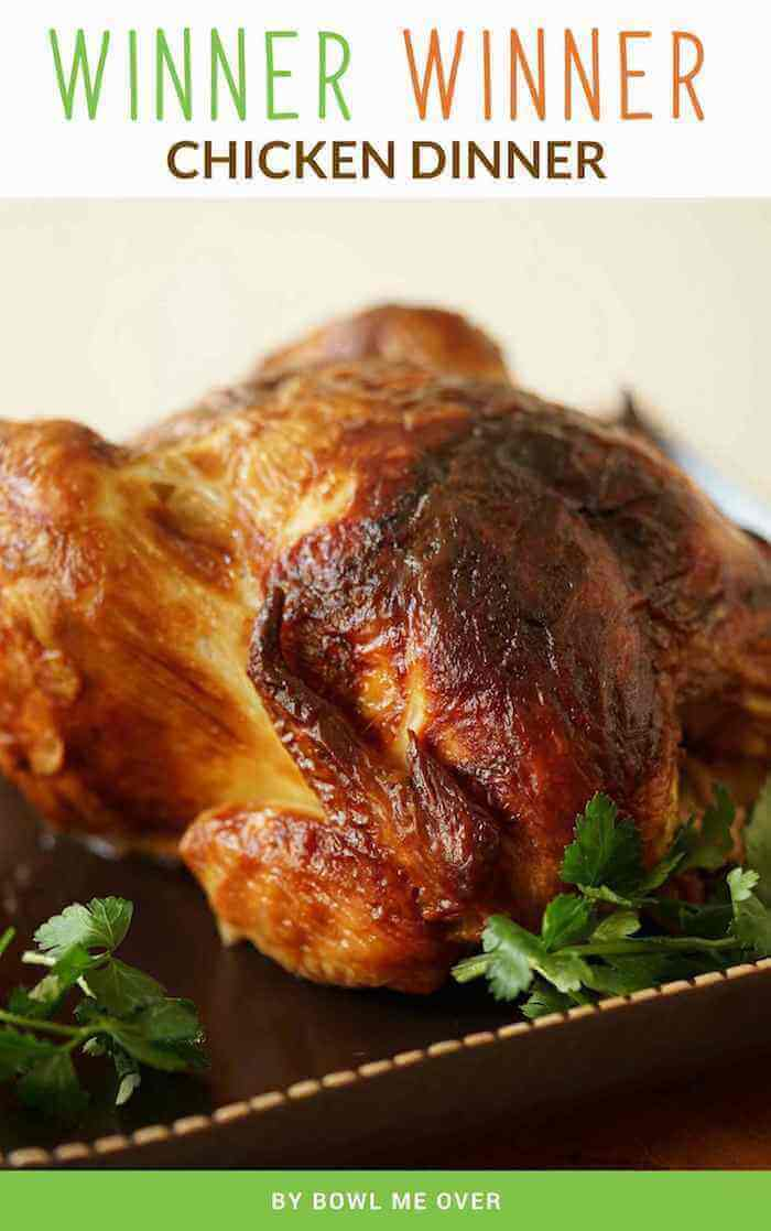 A picture of a roasted rotisserie chicken.