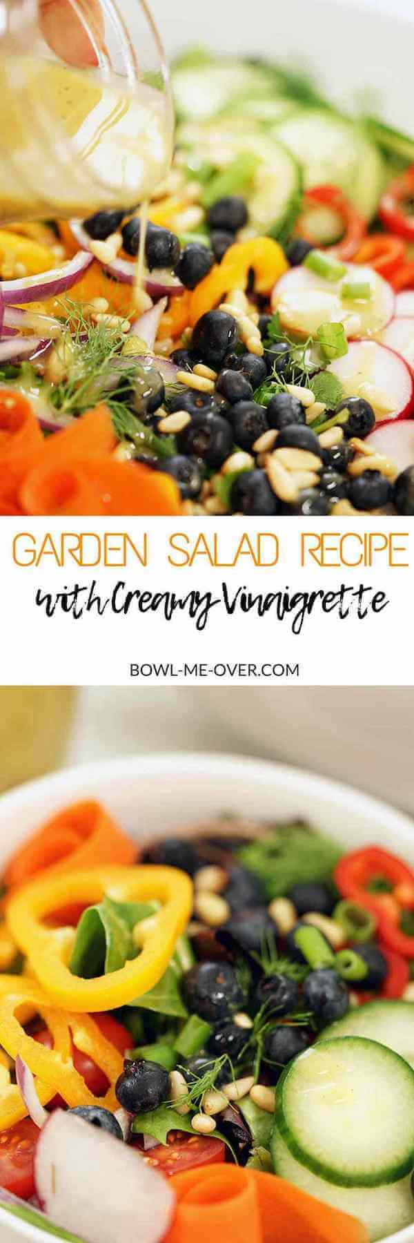 A bright fresh garden salad recipe topped off with a homemade creamy vinaigrette