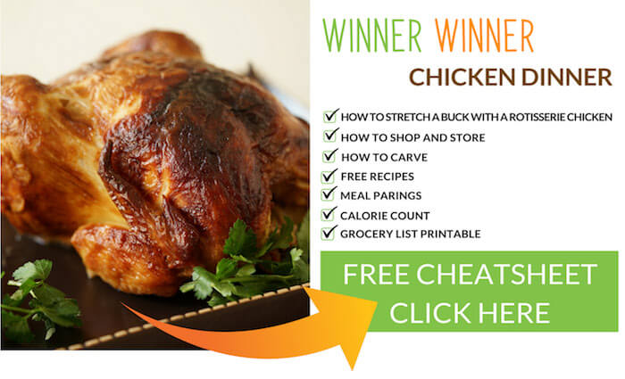 A picture with a perfectly cooked rotisserie chicken and an advertisement to receive a free cheatsheet, recipes and how-to!