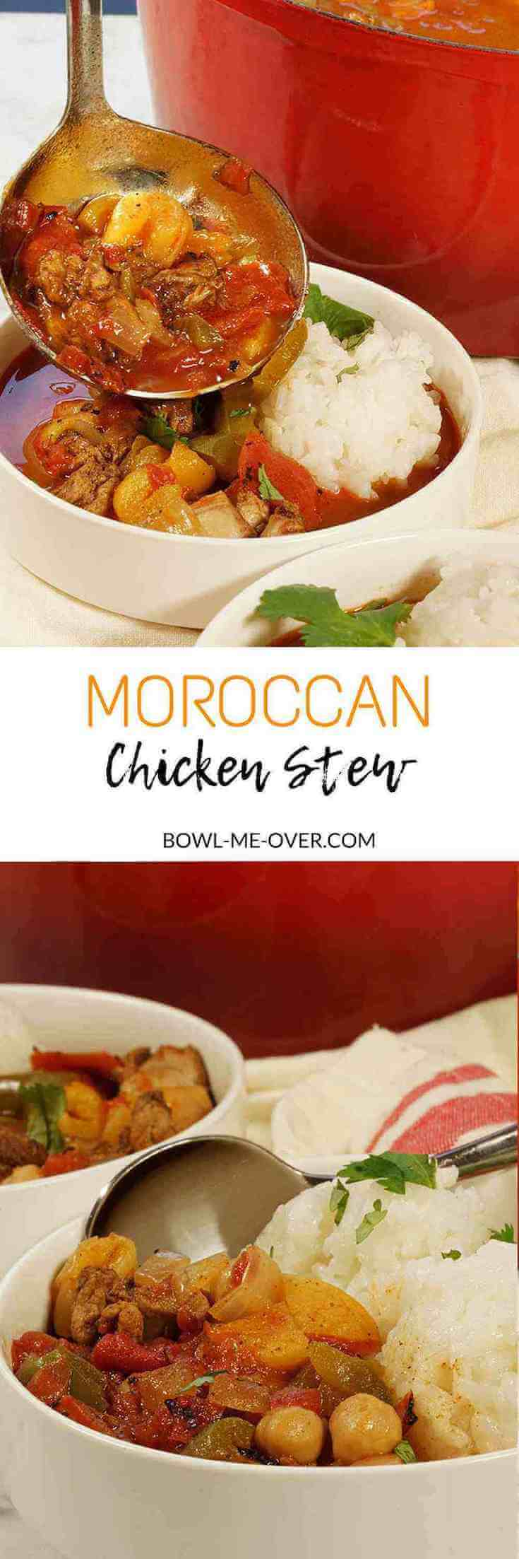 White bowls filled with Moroccan Chicken Stew with a ladle pouring another generous helping to enjoy!