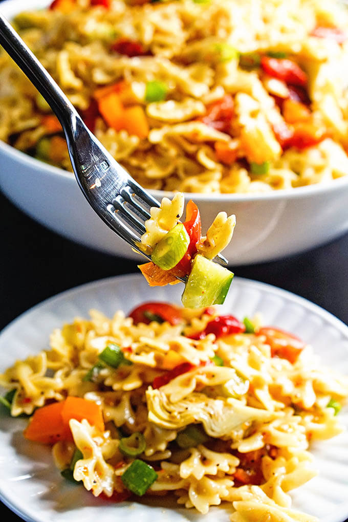 Bow Tie Pasta Salad on fork.