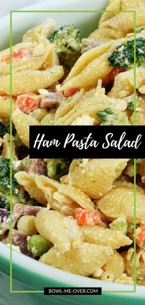 Ham Pasta Salad - Salty ham and feta cheese are mixed with bright, crunchy vegetables and pasta. It's a delicious pasta salad, great side dish or a light lunch! #PastaSalad #easyrecipe #sidesalad #bowlmeover