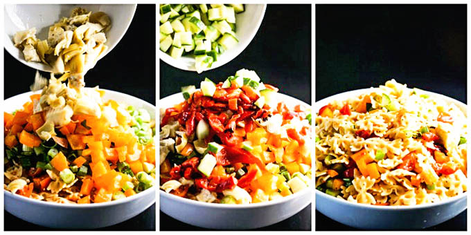 3 bowls showing ingredients added to the pasta salad