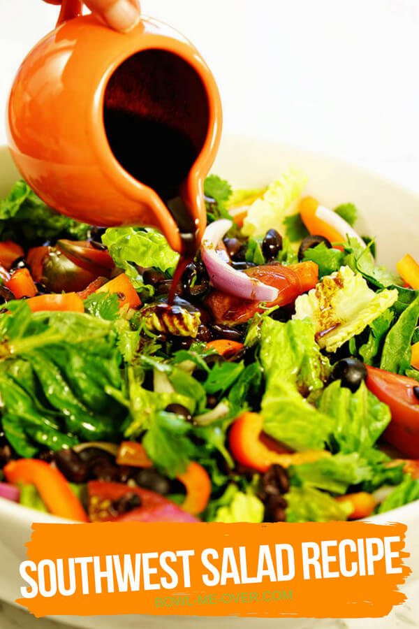 Southwest Salad recipe with bright crunchy vegetables and fresh homemade salad dressing.