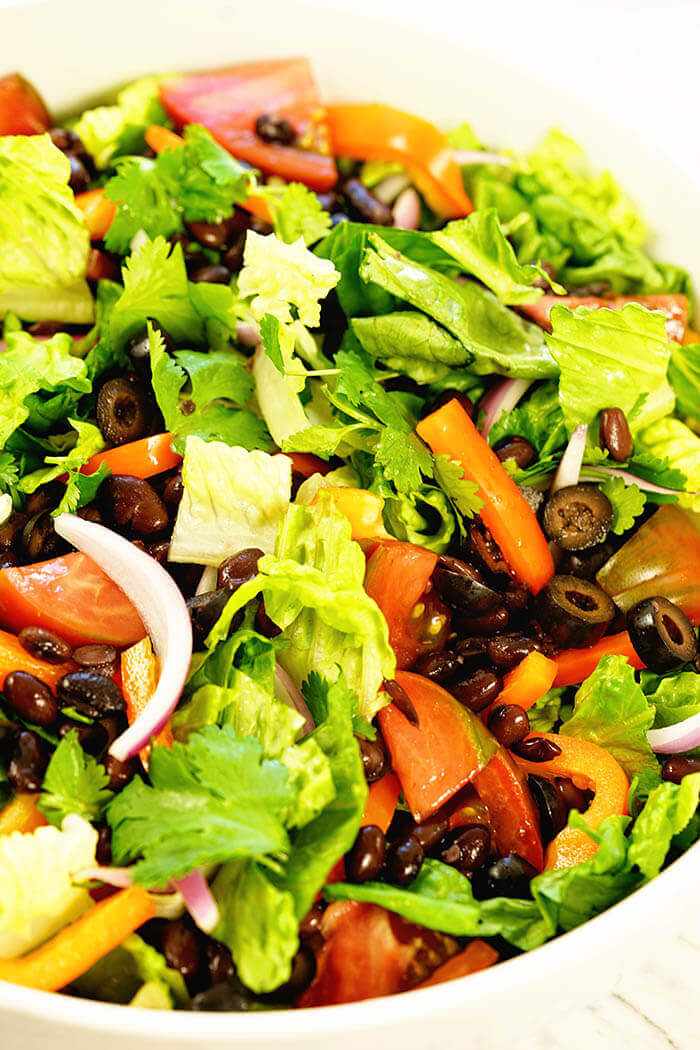 What's for dinner? How about a big bowl of southwest salad topped off with a balsamic vinaigrette!