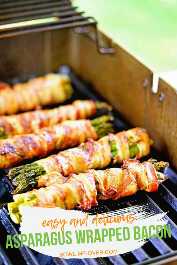 Asparagus Wrapped in Bacon - Made on the grill the bacon is crispy and flavorful wrapped around tender asparagus and sprinkled with salty Parmesancheese! #baconwrappedasparagus #getyourgrillon #bowlmeover #grilledasparagus #eatyourveggies #simplesidedish