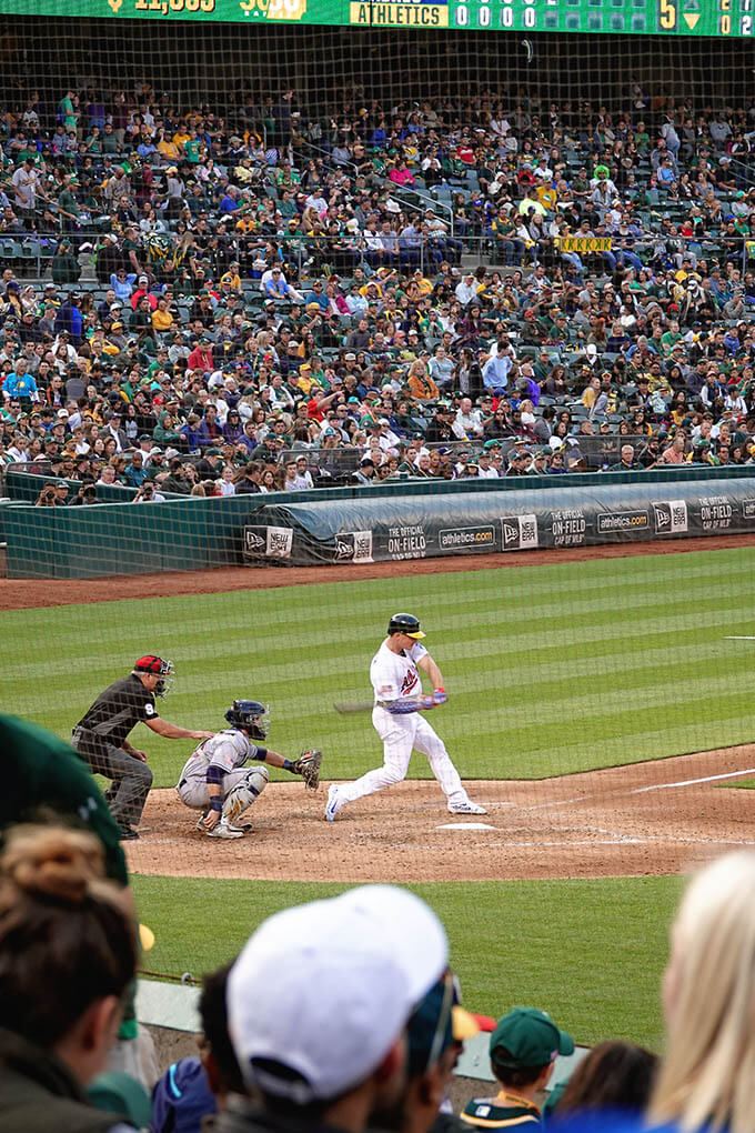 The Oakland A's at bat
