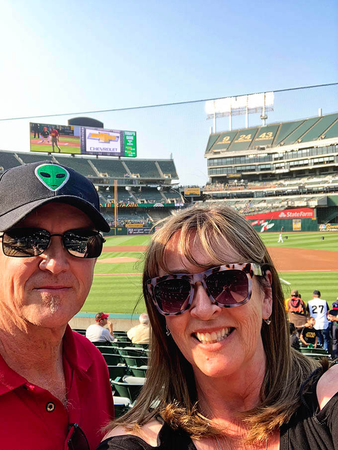 A picture of Dan and I at the Oakland A's game enjoying family fun night!