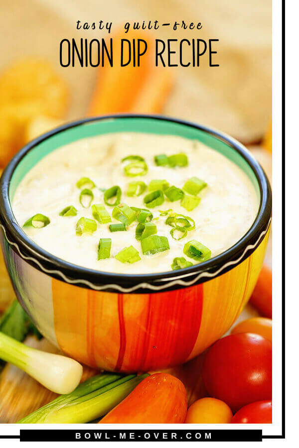 Are you ready for a creamy, tangy onion dip recipe? Onions three ways, sweet onion, green onions and dried onion flakes combine with yogurt in this healthy dip. #quickandeasy #howtomake #bowlmeover #oniondiprecipe #ad #bouldercanyon #snackboulder